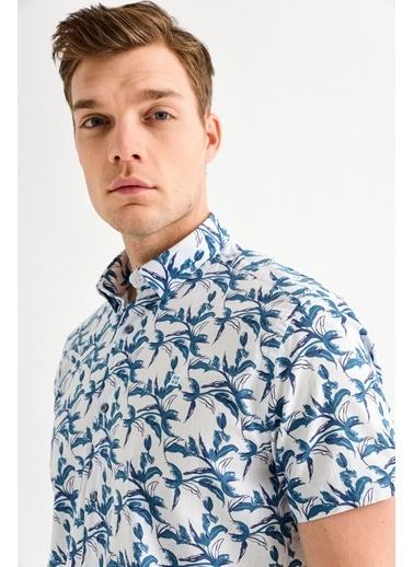 Avva Erkek  Baskılı Alttan Britli Gömlek A01Y2083 Mavi